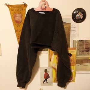 Urban Renewal Remade Acid Wash Cropped Sweatshirt
